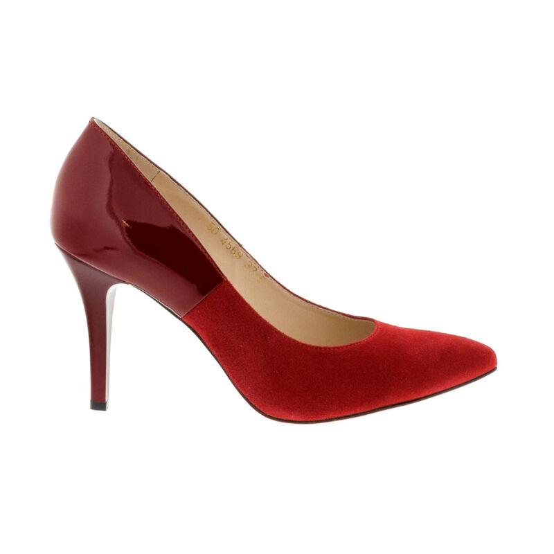 Anis pumps czerwony zamsz lak piros  180031_A